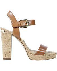 Michael Kors Shoes London Sandal Heel 8 3 Cork Leather Buckle - Lyst