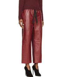 Nina Ricci Burgundy Leather and Knit Cropped Trousers - Lyst