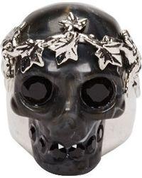 Alexander McQueen Silver and Black Ivy Skull Plexi Ring - Lyst