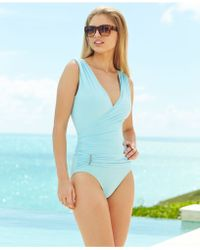 Vince Camuto Surplice-Neck Ruched One-Piece Swimsuit - Lyst