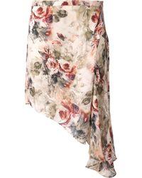Haute Hippie Asymmetrical Hem Skirt - Lyst