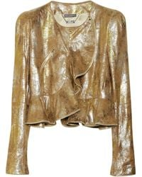 Alexander McQueen Metallic Leather Peplum Jacket - Lyst