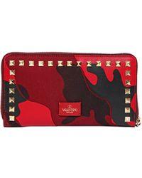 Valentino Camouflage Patchwork Zip Around Wallet - Lyst