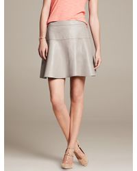 Banana Republic Gray Leather Fit and Flare Skirt Gray Sky - Lyst