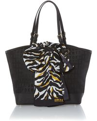 DKNY Black Medium Scarf Tote Bag - Lyst
