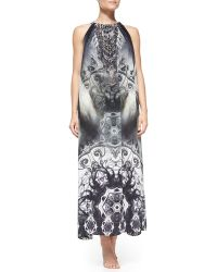 Camilla Printed Beaded Tie-back Coverup Dress - Lyst