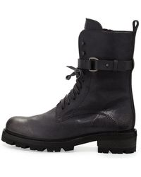 Henry Beguelin - Lace-Up Buckled Combat Boot - Lyst