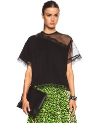 Christopher Kane Mesh & Lace Cut Away Cotton Top - Lyst