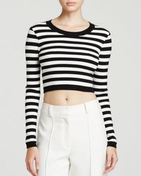 Milly Top - Striped Knit Crop - Lyst