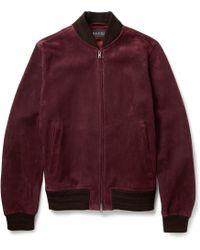 Gucci Suede Bomber Jacket - Lyst