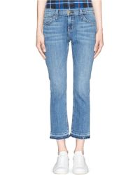Current/Elliott 'The Cropped Straight' Relax Fit Jeans blue - Lyst