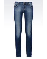 Emporio Armani Super Skinny Medium Wash Jeans - Lyst