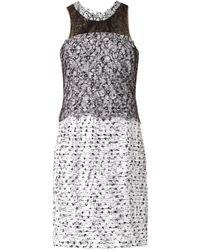 Oscar de la Renta Tweed And Lace Dress - Lyst
