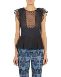Isabel Marant Embroidered Organza Vermer Blouse black - Lyst