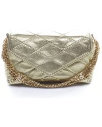 Chanel Preowned Gold Lambskin Quilted Envelope Chain Vintage Clutch Bag - Lyst