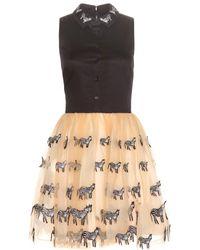 Alice + Olivia Preena Zebra Embellished Dress - Lyst