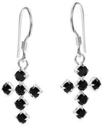 Aeravida - Spiritual Cross Black Cubic Zirconia .925 Silver Dangle Earrings - Lyst