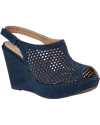 Vaneli For Jildor Emmalee Wedge Sandal Blue Cork - Lyst