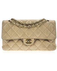 Chanel   Pre-owned: Straw Raffia Medium Double Flap Bag   Lyst