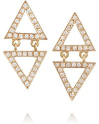 Halleh - 18-Karat Gold Pavé Diamond Triangle Earrings - Lyst