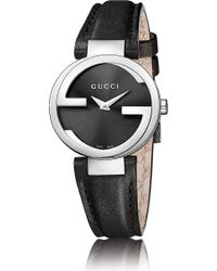 Gucci Interlockingg Collection Stainless Steel and Leather Watch - Lyst