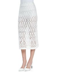 Donna Karan New York Eyelet A-Line Long Skirt - Lyst
