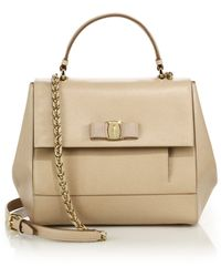 Ferragamo | Carrie Saffiano Leather Top-handle Satchel | Lyst