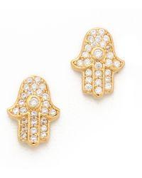 Tai - Hamsa Stud Earrings Cleargold - Lyst