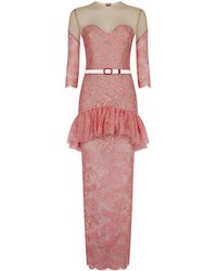 Alessandra Rich Lace Illusion Peplum Gown - Lyst