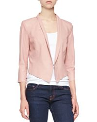 Lamarque 3/4-Sleeve Tux Leather Jacket - Lyst