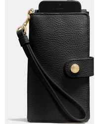 Coach Phone Clutch In Polished Pebble Leather - Lyst