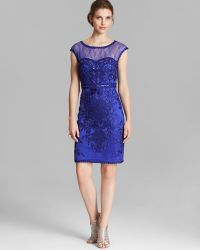 Sue Wong Dress Illusion Neck Cap Sleeve Soutache Sheath - Lyst