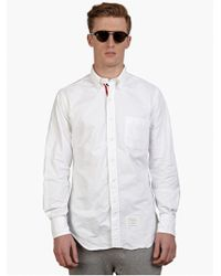 Thom Browne Men'S White Cotton Oxford Shirt - Lyst