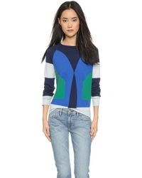 Cynthia Rowley Colorblock Cashmere Sweater - Blue Combo - Lyst