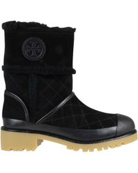 Tory Burch Boughton Shearling Bootie Stivale Nero Donna - Lyst