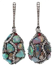 Arunashi - 18kt Black Gold Opal Egg Drop Earrings - Lyst