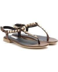 Balenciaga Giant Stud Leather Sandals - Lyst