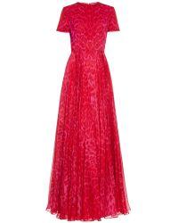 Alexander McQueen Leopard-Print Silk-Chiffon Gown - Lyst
