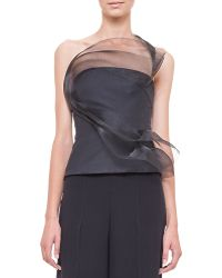 Akris Tulle Wave Asymmetric Bustier Top - Lyst