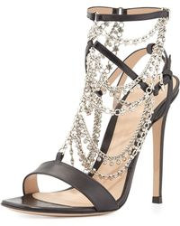 Gianvito Rossi Jeweled Strappy Leather Sandal - Lyst