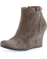 Lanvin Suede Wedge Ankle Boot Gray - Lyst