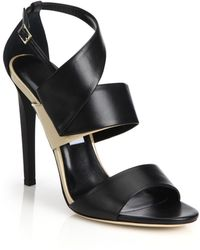 Jimmy Choo Trapeze Asymmetrical Leather & Patent Leather Sandals black - Lyst