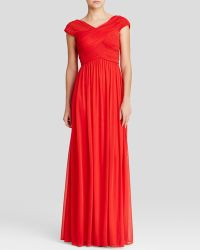 JS Collections Gown - Cap Sleeve Pleated - Lyst