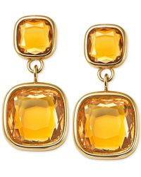 Michael Kors Gold-Tone Stainless Steel Citrine Stone Double Drop Earrings - Lyst