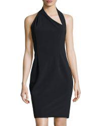 Halston Heritage Asymmetric Halter Dress - Lyst