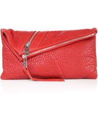 Linea Pelle - Jude Diagonal Zip Leather Clutch - Lyst