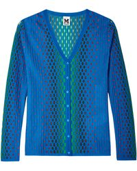 M Missoni Blue and Green Spotted Cardigan - Lyst
