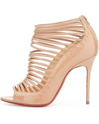 Christian Louboutin Gortika Patent Strappy Opentoe Red Sole Bootie - Lyst