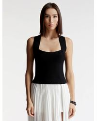 Halston | Cross Back Fitted Knit Top | Lyst