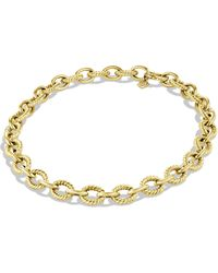 David Yurman Oval Large Link Necklace in Gold - Lyst
